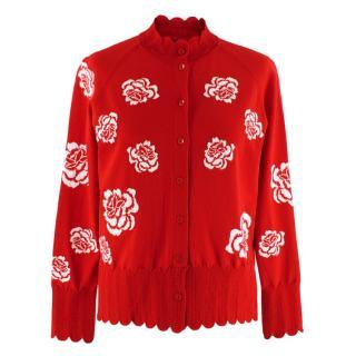 Simone Rocha Women's Red Peony Cardigan