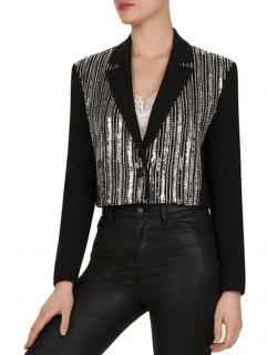 The Kooples Marta Sequined Crepe Cropped Jacket