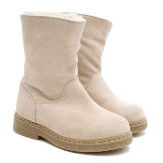 Bonpoint Kids Suede Shearling Lined Boots