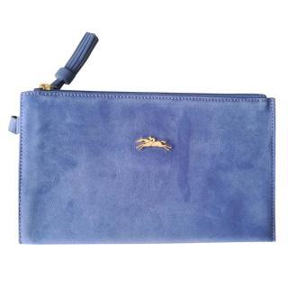 Longchamp suede zip pouch