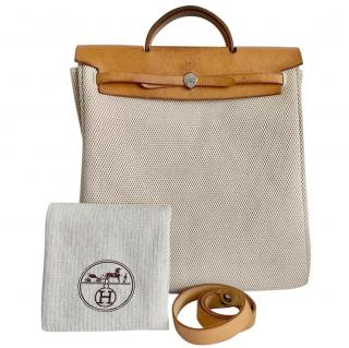 Hermes Large Beige 2003 canvas and leather Herbag - recently from spa