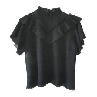DIor Ruffled Sheer Black Top