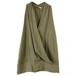 Ramy Brook Green Sleeveless Silk Wrap Style Top