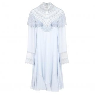 Chloe Pale Blue Embroidered High Neck Dress