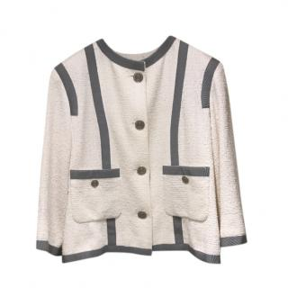 Chanel Ivory & Grey Tweed Tailored Jacket