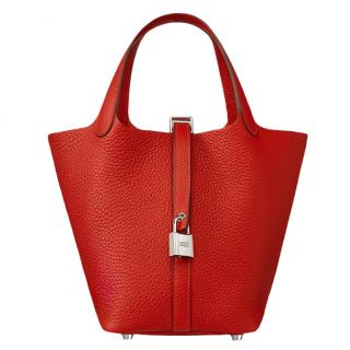 Hermes Rouge Tomate Taurillion Clemence Picotin Lock 18