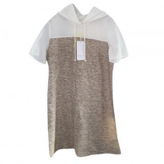 Escada Knit & Mesh Hooded Mini Dress