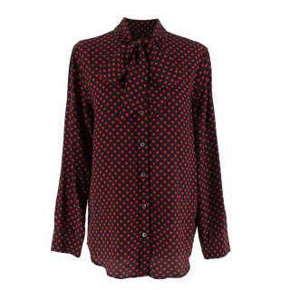 Kate Moss X Equipment Heart Print Silk Shirt