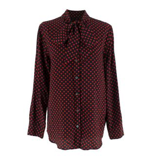 Kate Moss X Equipment Heart Print Silk Shirt