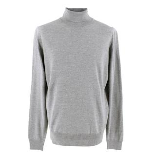 John Smedley Merino Wool Grey Roll Neck Jumper