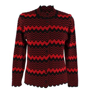 Simone Rocha Red & Black Wave Knitted Cardigan