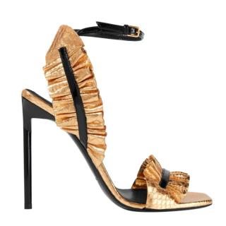 Saint Laurent Edie ruffled metallic snake-effect leather sandals