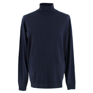 John Smedley Navy Merino Wool Rollneck Pullover
