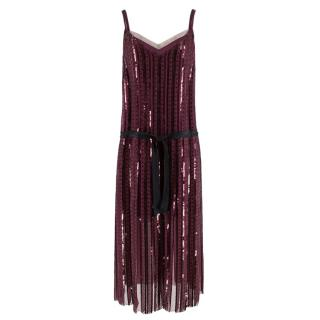 Marc Jacobs Purple Sequin Embroidered Dress