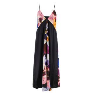 Christopher Kane Pansy-print silk-crepe slip dress