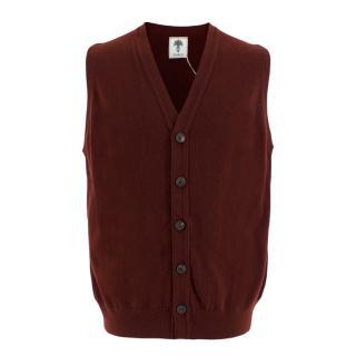 J.Girdwood Mens Burgundy Knitted Cashmere Waistcoat