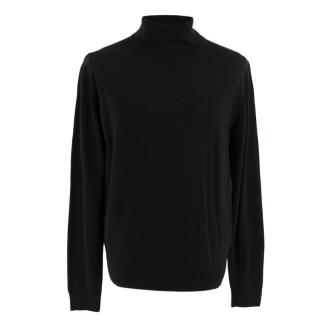 John Smedley Black Merino Wool Roll Neck Jumper