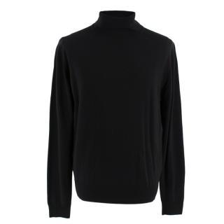 John Smedley Black Merino Wool Roll Neck Jumper