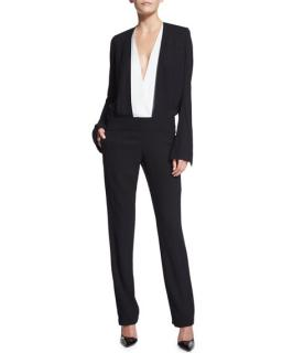 Haider Ackermann Long-Sleeve Bicolor Jumpsuit Black/White
