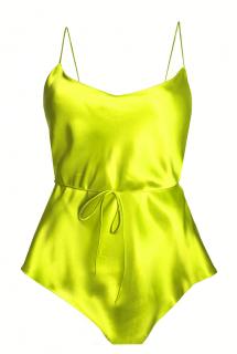 Maguy de Chadirac Lime Green Silk Satin Teddy