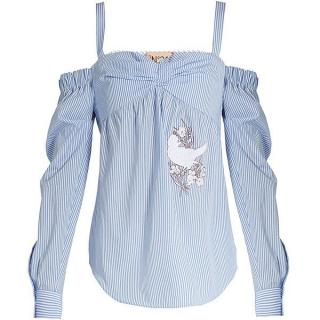 No.21 striped cold shoulder embroidered top