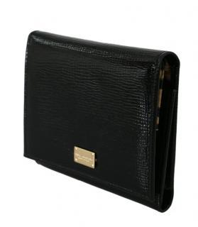 Dolce & Gabbana Black Lizard Print Tri-Fold Wallet