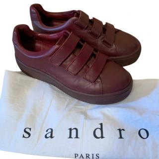 Sandro Burgundy Leather Sneakers