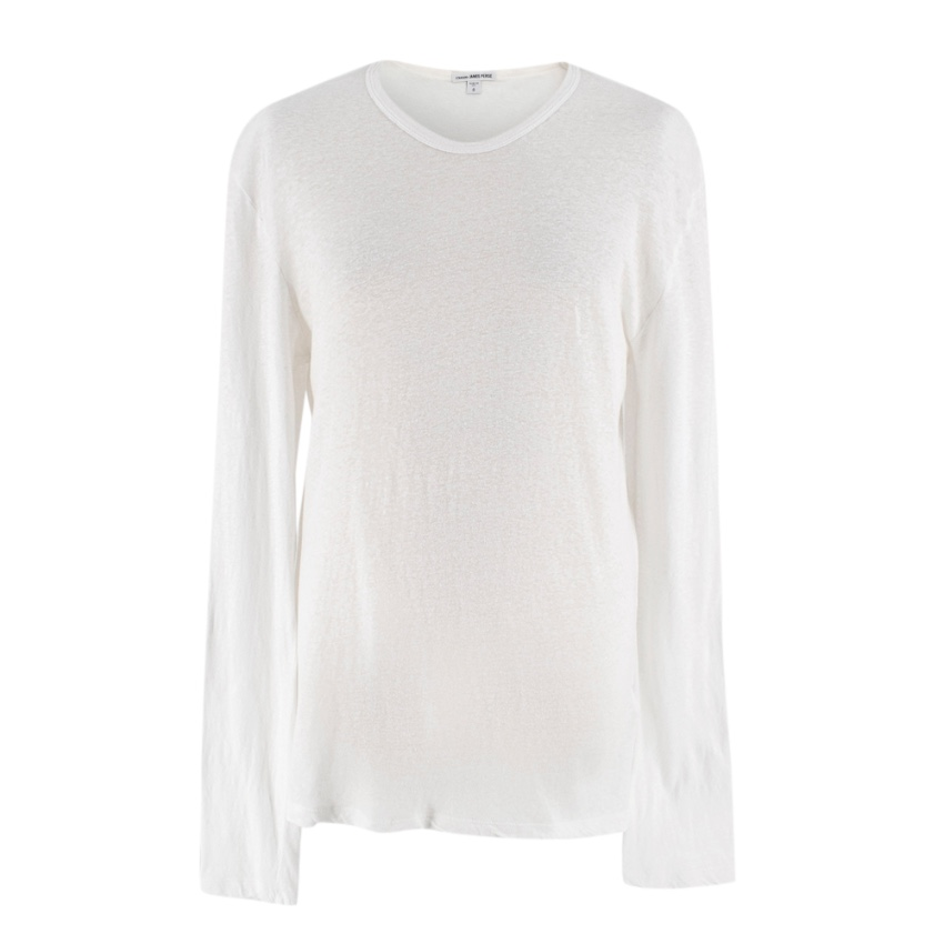 James Perse White Round Neck Long Sleeve