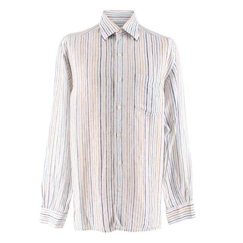 Ermenegildo Zegna White Striped Linen Shirt
