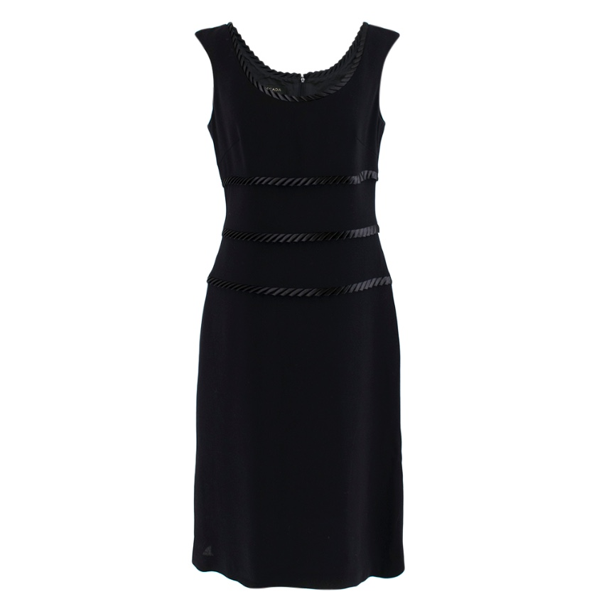 Escada Black Satin Trimmed Midi Dress