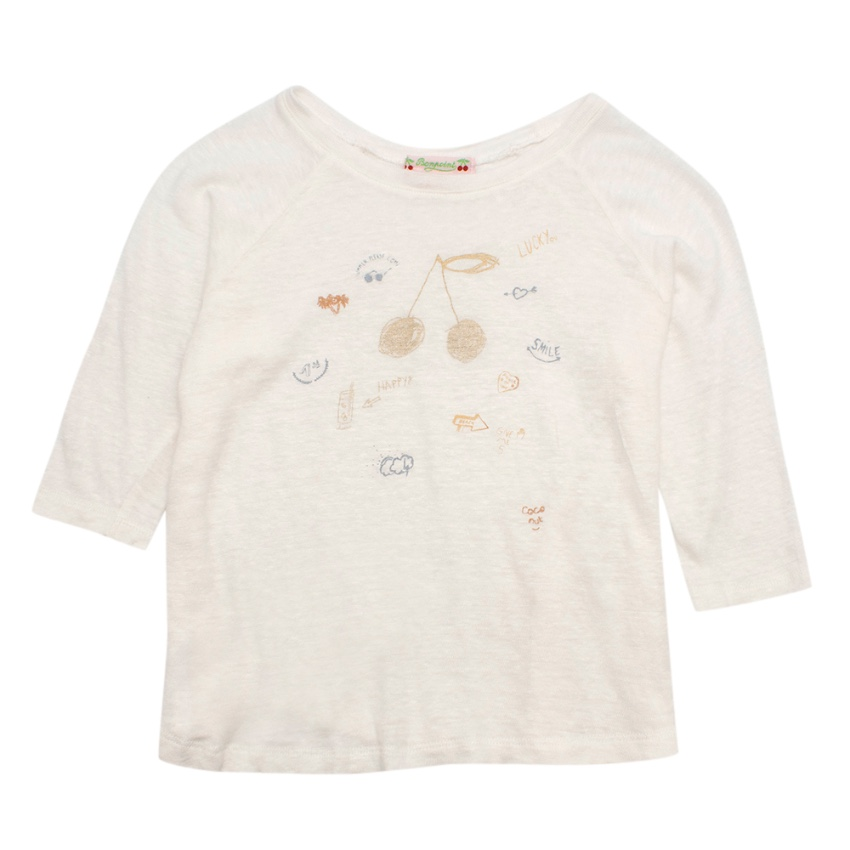 Bonpoint Cream Knit Scribble Top