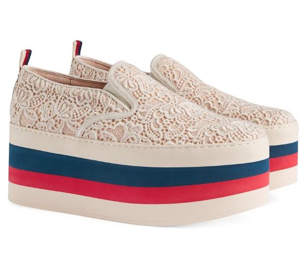 Gucci Beige Lace Platform Sneakers   HEWI