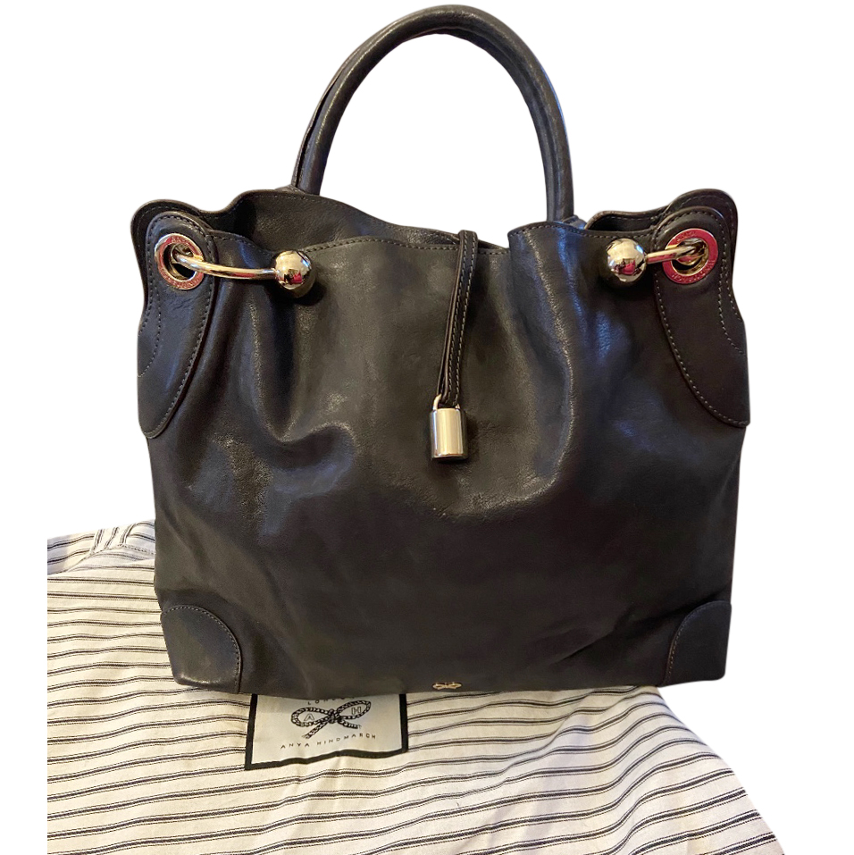 Anya Hindmarch Navy Leather Tote Bag