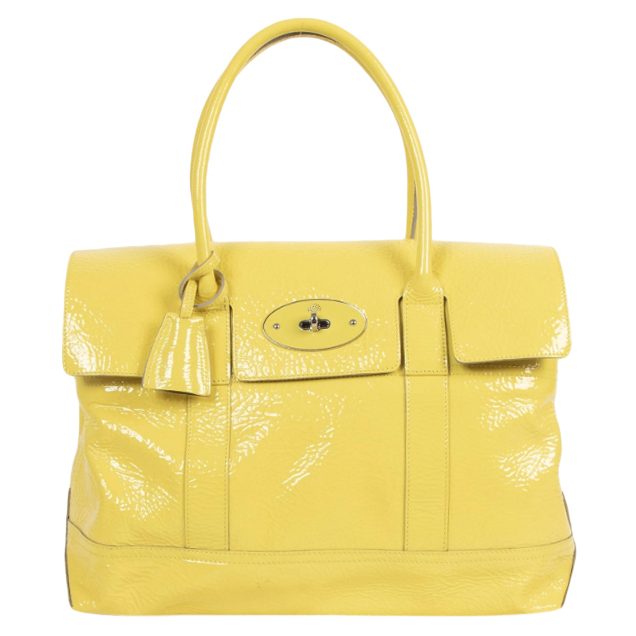 Mulberry Lemon Yellow Bayswater Patent Leather Bag