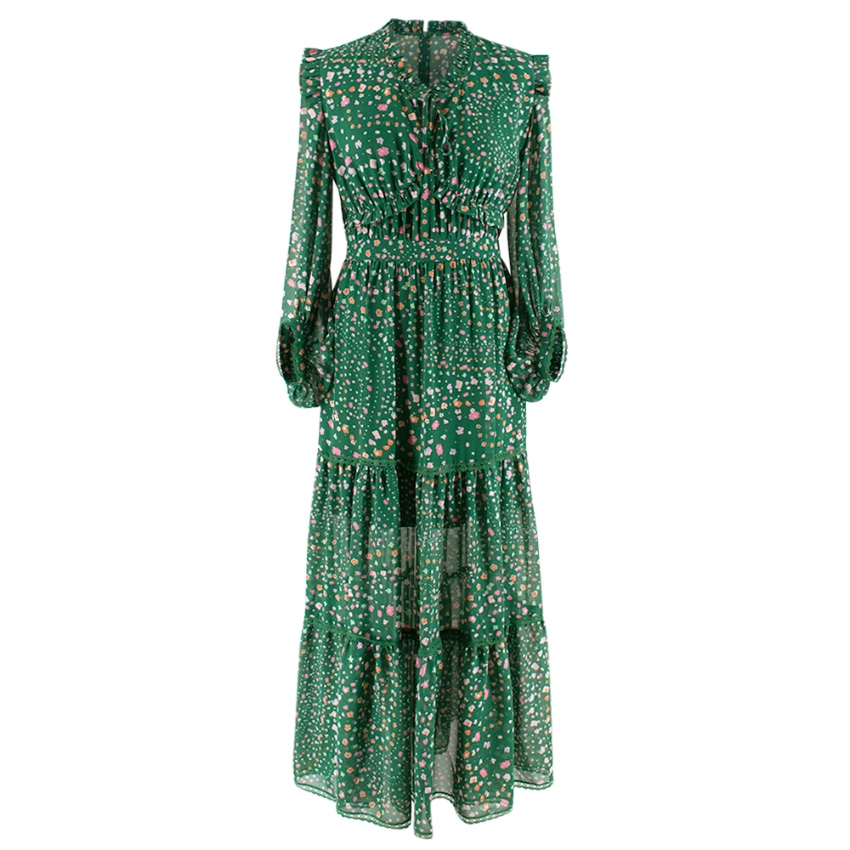 Three Floor Green Floral Ruffle Neck Hansen Maxi Dress
