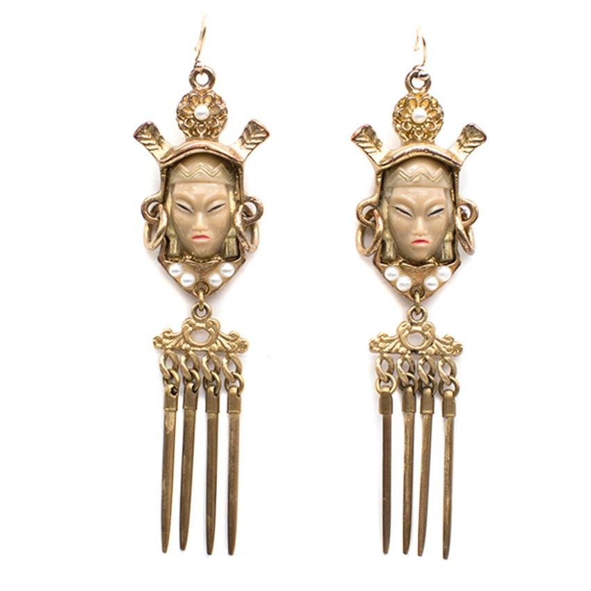 Bespoke 14kt Gold Warrior Drop Earrings