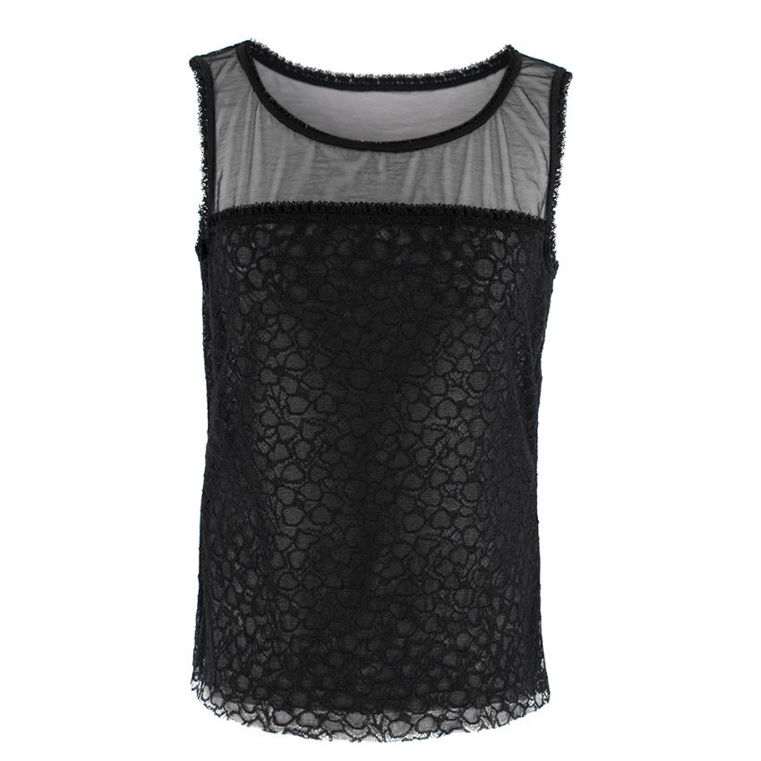 Escada Black Sheer Lace Vest Top