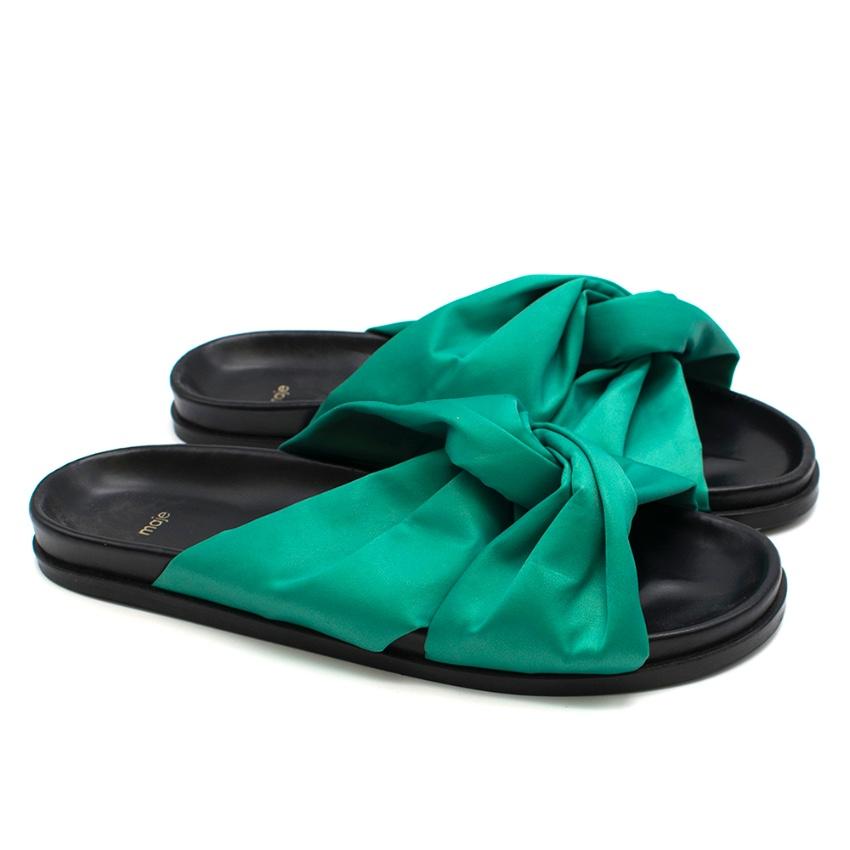 Maje Green satin knotted Slides