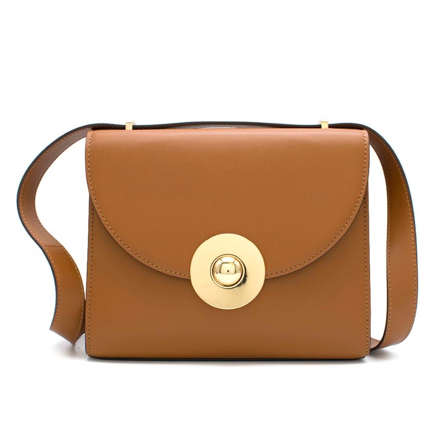 Tara Jarmon Camel Leather Flare Shoulder Bag