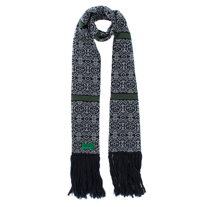 Kenzo Navy Wool Patterned Scarf