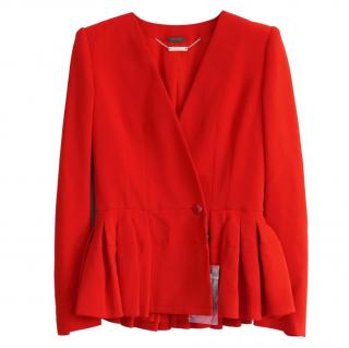 Alexander McQueen Red Tailored Peplum Jacket