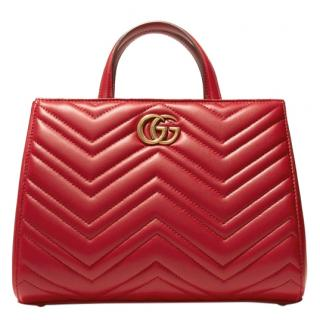 Gucci Red Leather Marmont Tote Bag