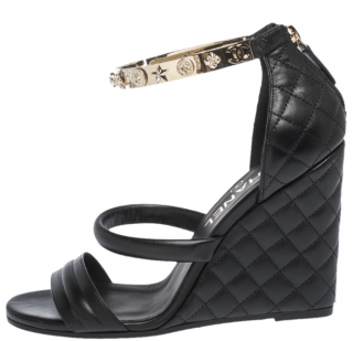 Chanel Quilted Leather Wedge Sandals with Metal Logo Ankle Wrap