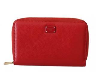 Dolce & Gabbana Red Leather Zip-Around Purse