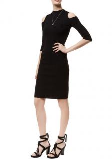 Maje Black Ribbed Knit Cold Shoulder Dress