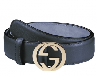 Gucci Navy Blue Leather Belt - Size 75
