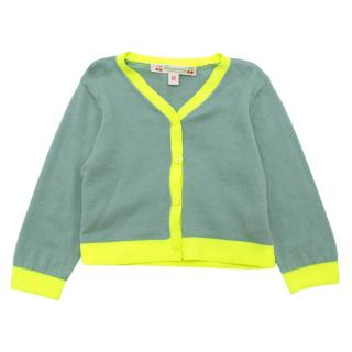Bonpoint Teal and Neon Cardigan
