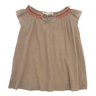 Bonpoint Brown Pleated Girl's Dress