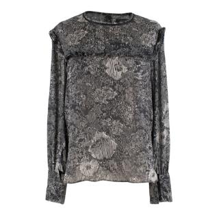 Isabel Marant Etoile Black and White Chiffon Blouse