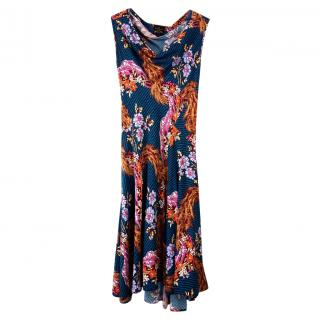 Vivienne Westwood Draped Floral Print Crepe Dress